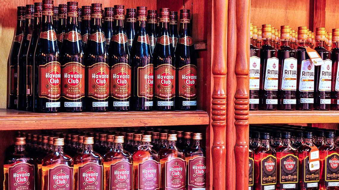 Selection of Cuban rums in a state-rum store