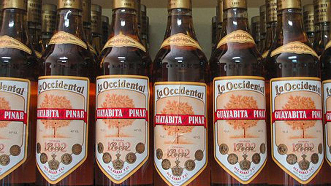 Bottles of Guayabita del Pinar rum