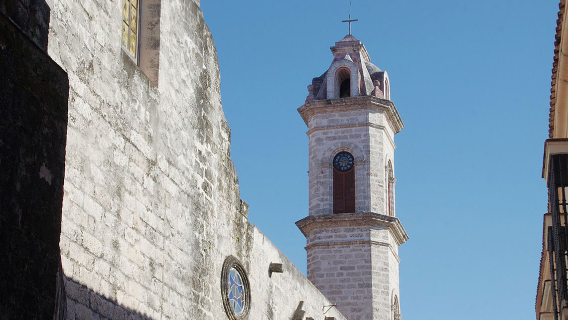 One of the bell towers of Havana Cathedral