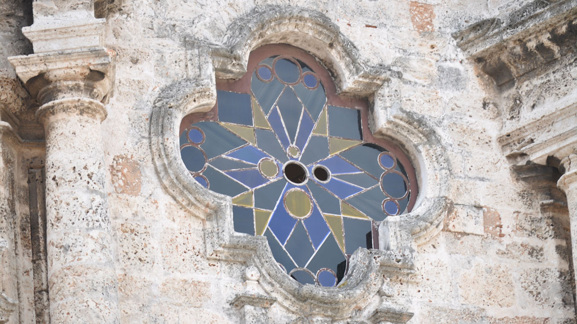 Detail of the external wall of Havana Cathedral