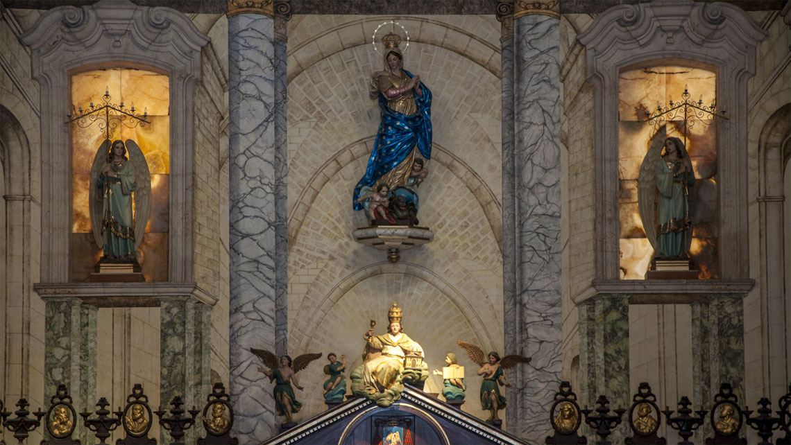 Sculpture of Virgin Mary in the interior of Havana Cathedral