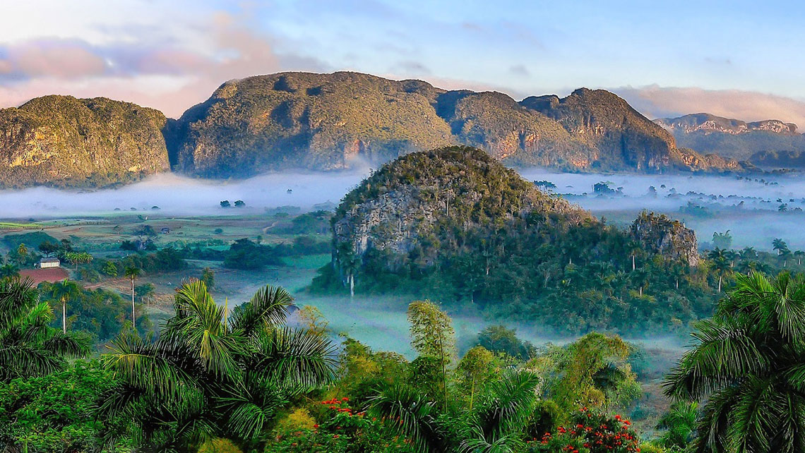 Early morning fog in Vinales valley, Cuba