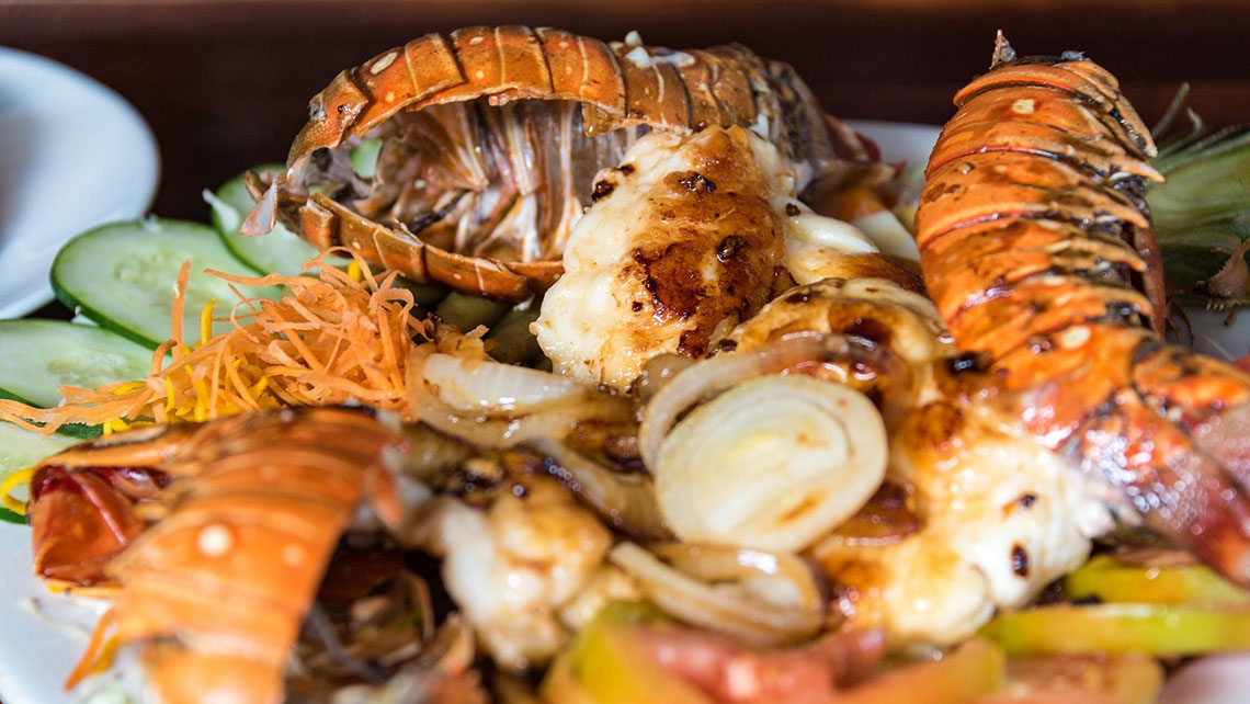 A plate of fresh seafood with salad