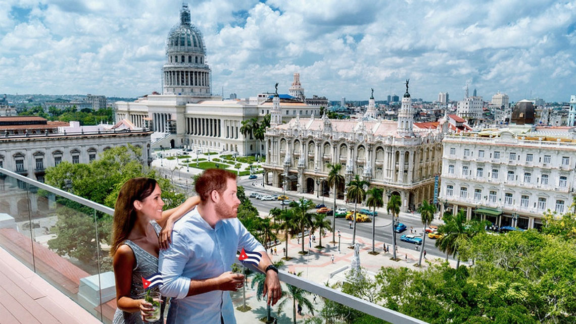 A couple depicting Prince Harry and Meghan Markle looking over Central Park in Havana