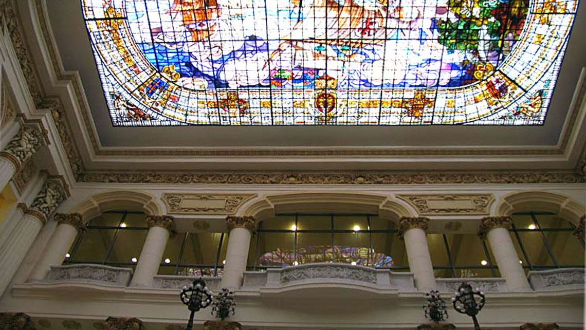 Stained-glass ceiling over the stairwell in the National Museum of Fine Arts, Havana