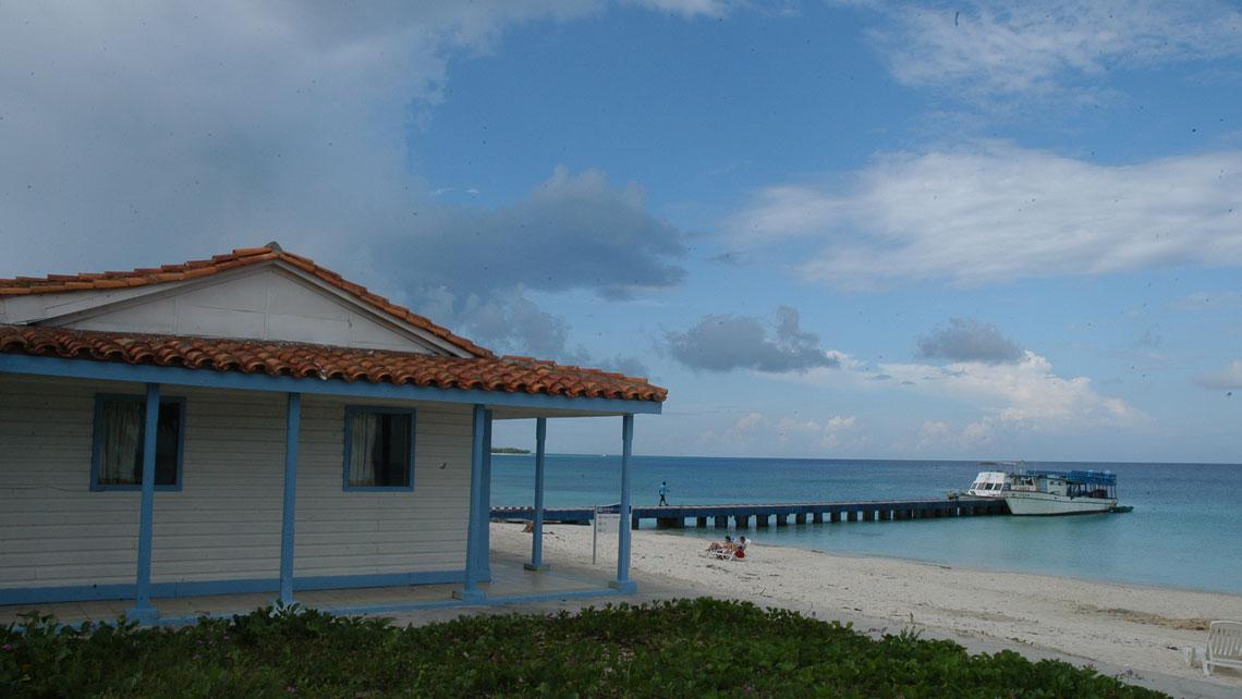 Wooden house near a pier in Maria La Gorda