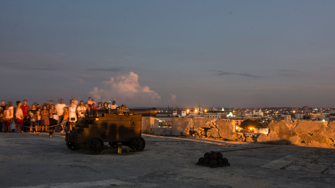 People attending the ceremonial cannon blast at 9 pm in Havana