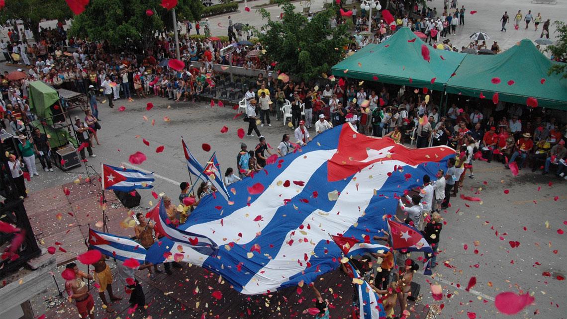Cuban flags in Romerias de Mayo