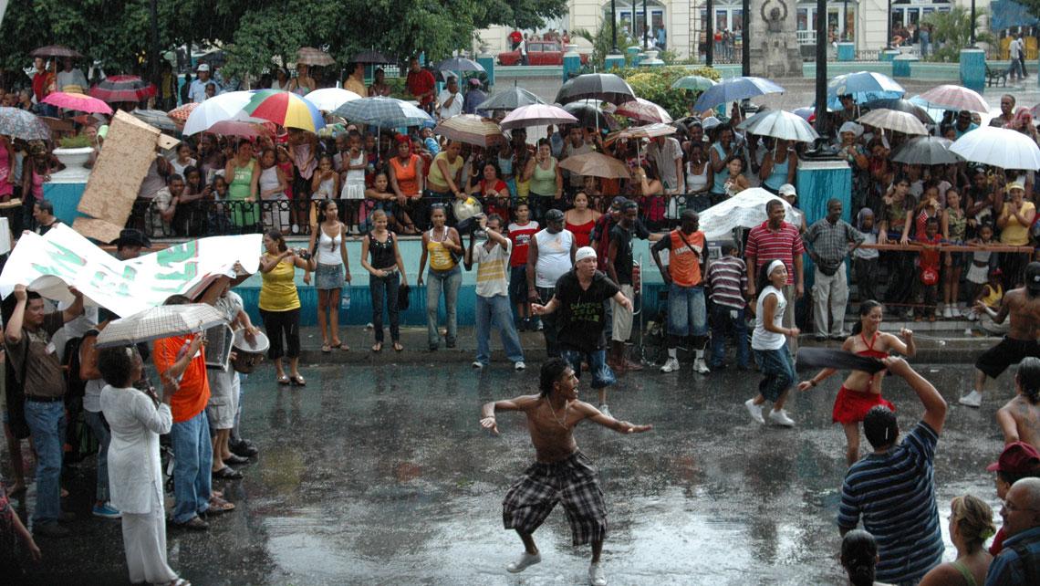 People dancing in Santiago de Cuba during Fiesta of Fire