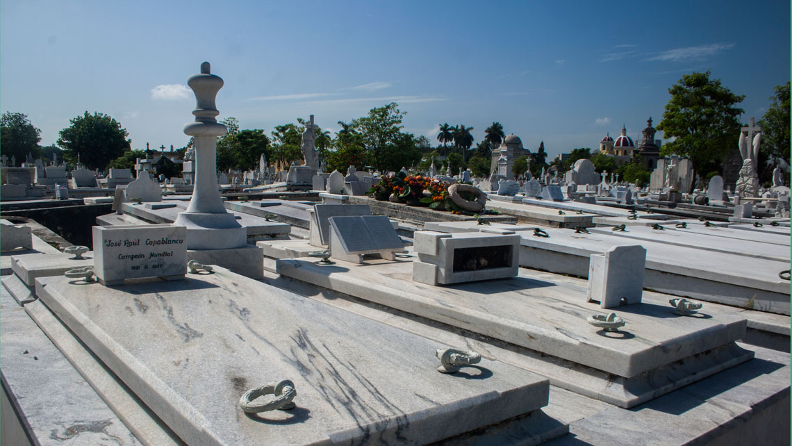 The tombstone of world chess champion Capablanca in Colon cemetery