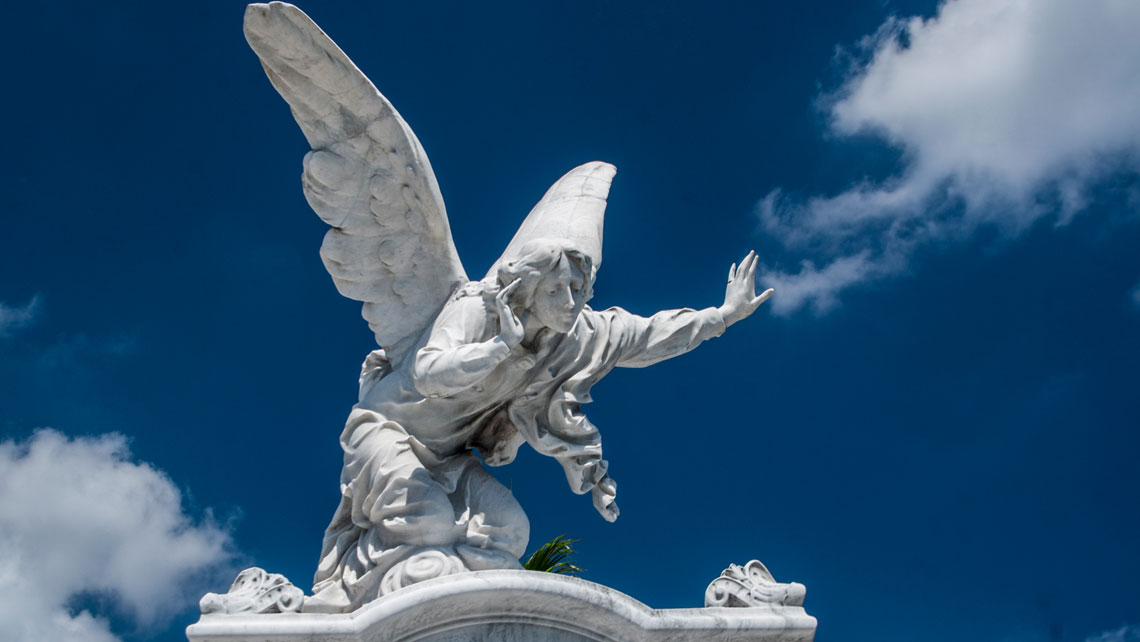Beautiful marble angel in the monumental Colon cemetery in Havana
