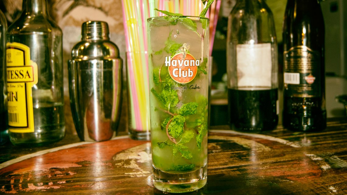 Mojito cocktail in a highball glass