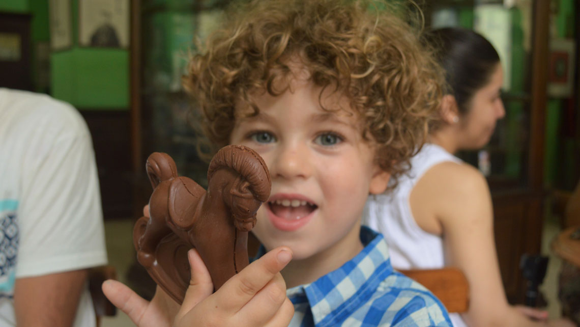 A toy horse made of chocolate