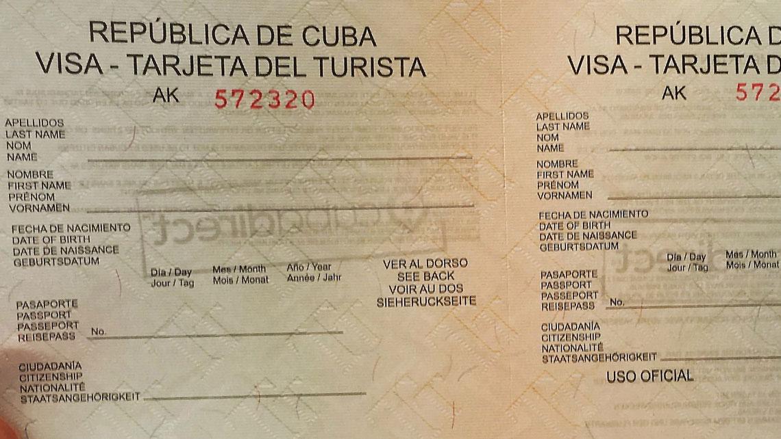 A specimen of Cuban visa