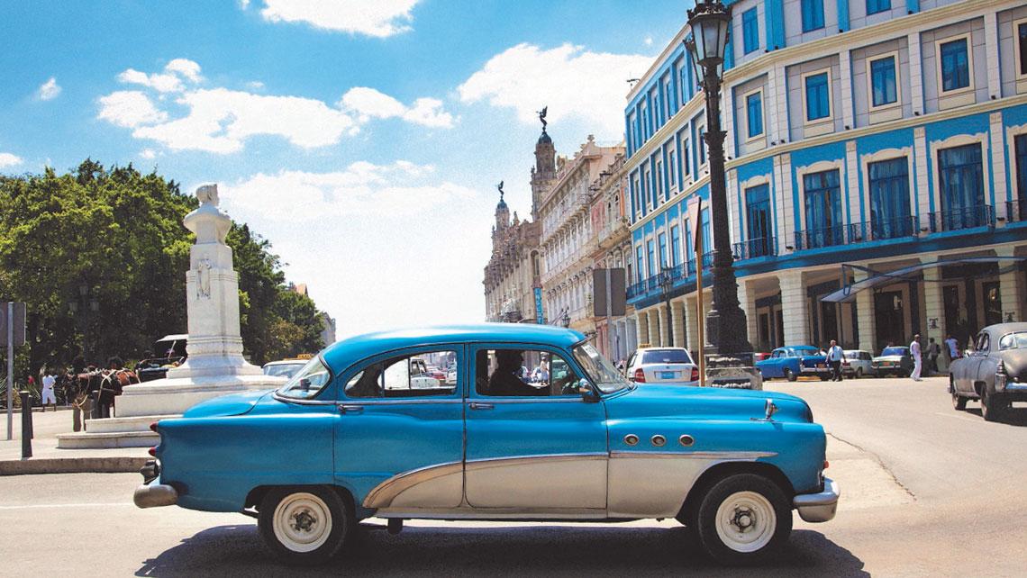 A Cuban taxi cruising in Havana