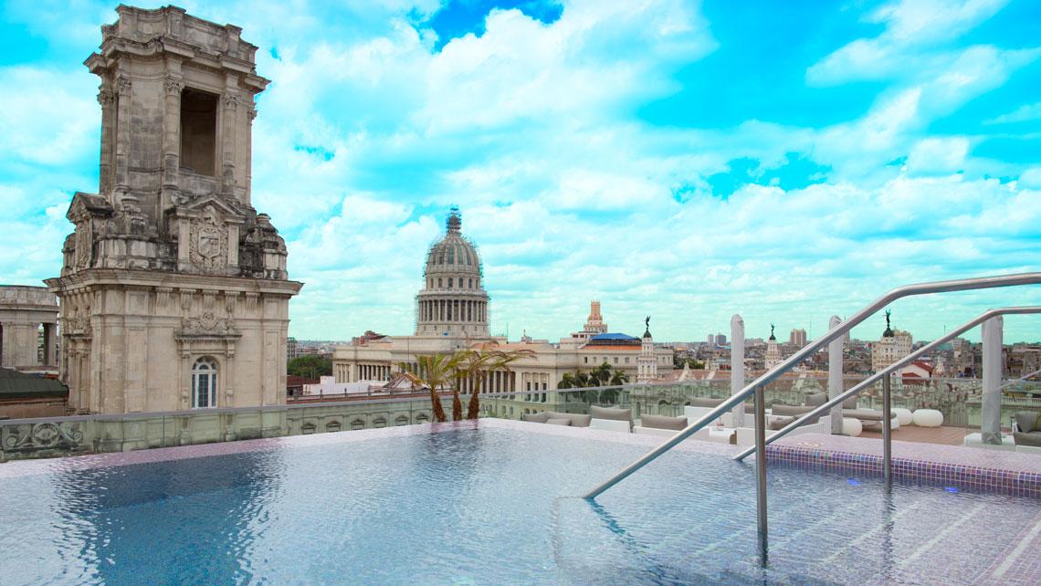 Panoramic view from the swimming pool of Gran Manzana Kempinski hotel