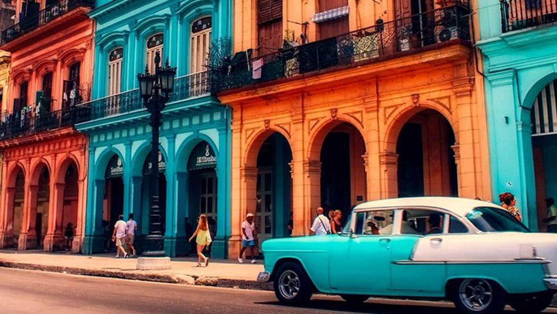 Old classic car cruising Havana's streets