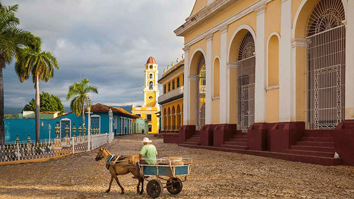 Horse Cart in front of Holy Trinity Church in Trinidad