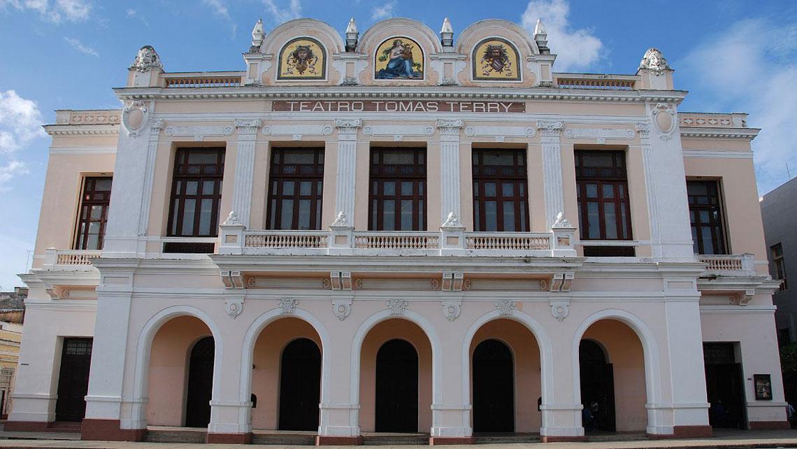 Elegant facade of Teatro Tomas Terry in Cienfuegos