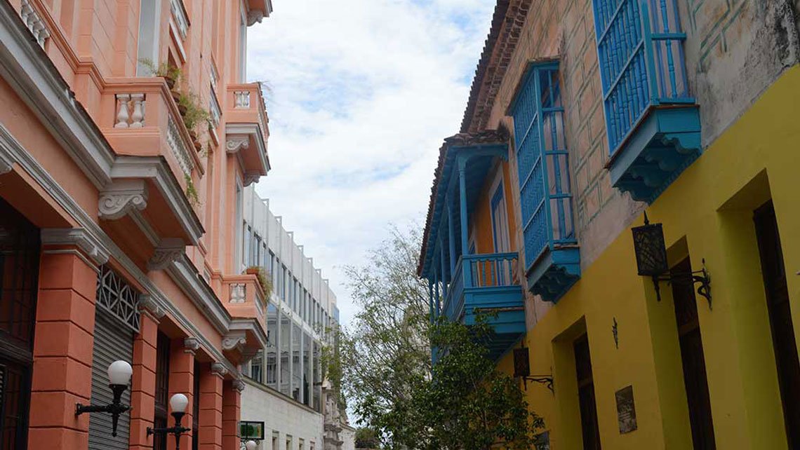 Colonial buildings with colourful features in Old Havana
