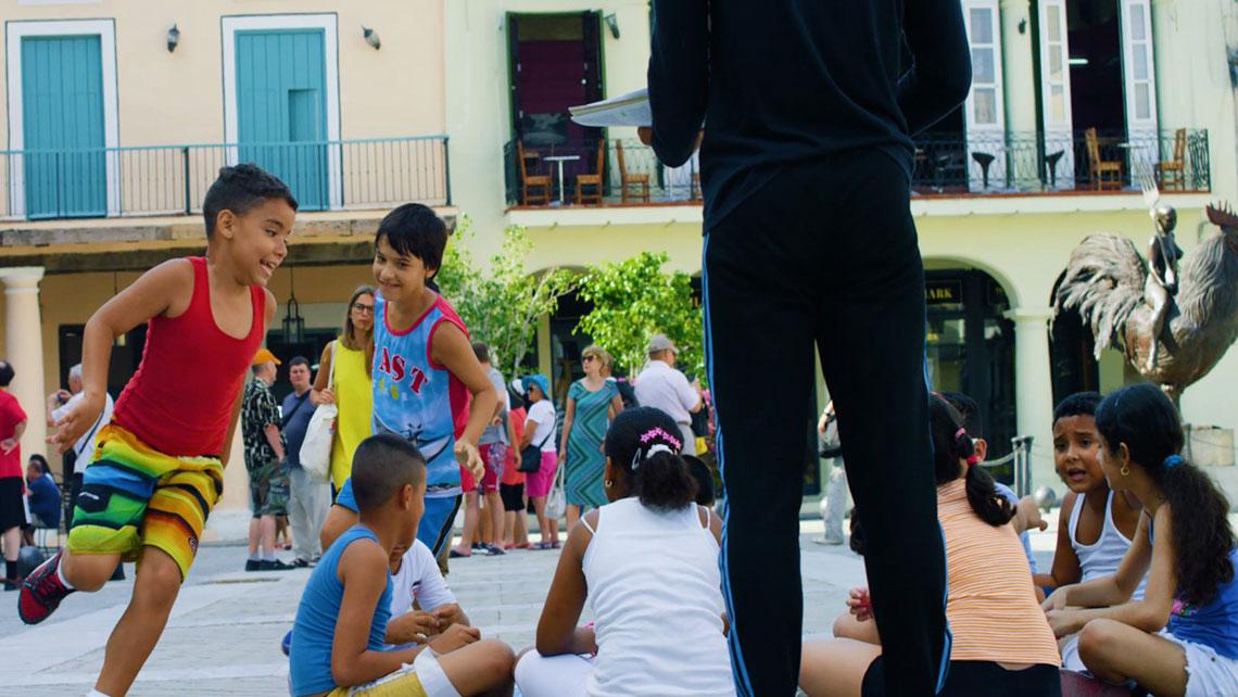 Children playing in Plaza Vieja, Old Havana