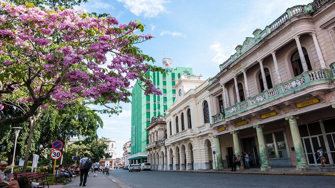 Beautiful buildings along side Parque Vidal in Santa Clara