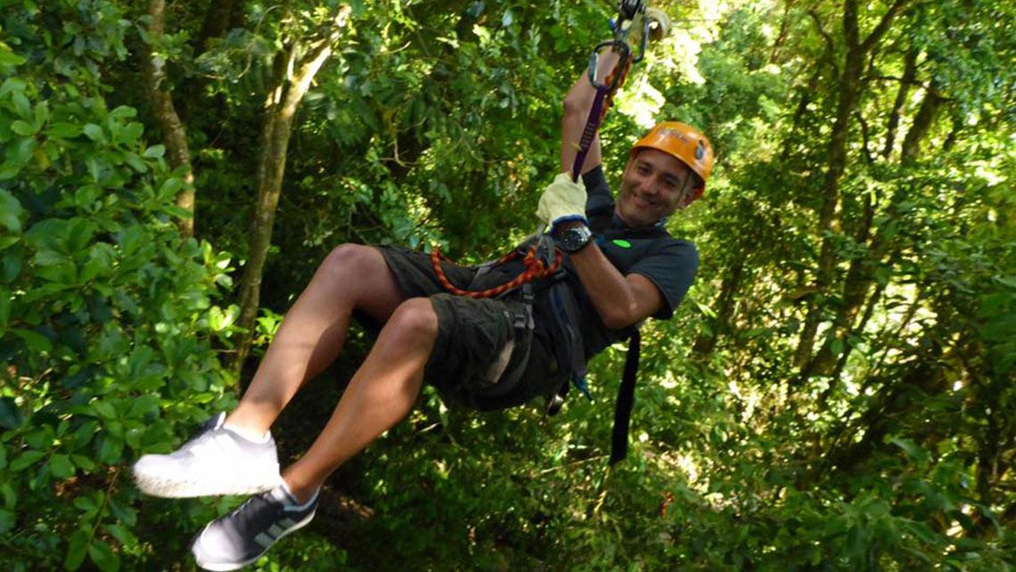 York Ortiz ziplining in Vinales