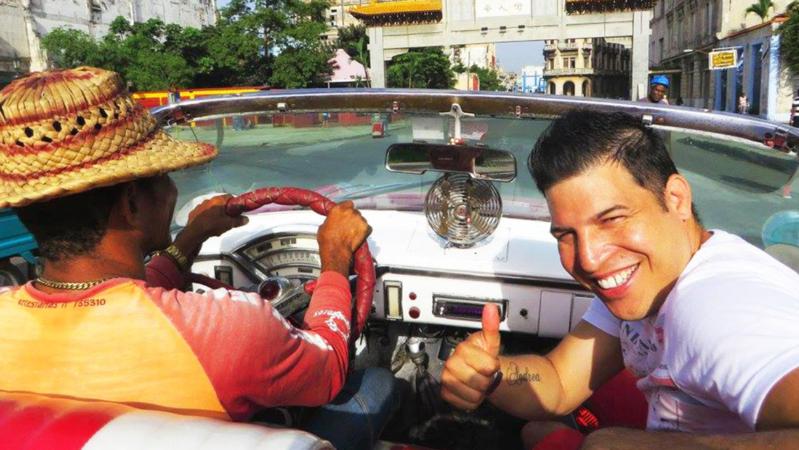 Pedro with a private guide in Havana
