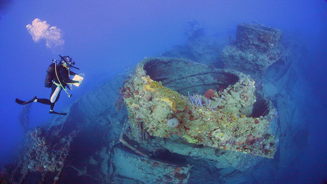 A shipwreck sitting on the seabed near Playa Larga