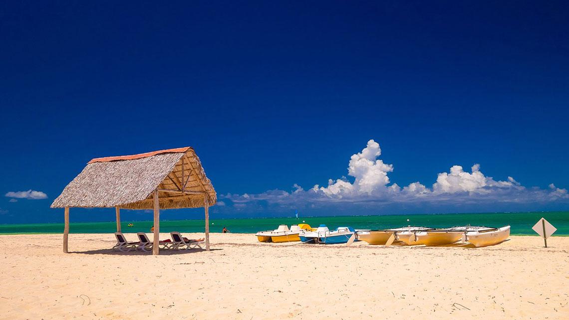 Thatched beach hut in Playa Santa Lucia