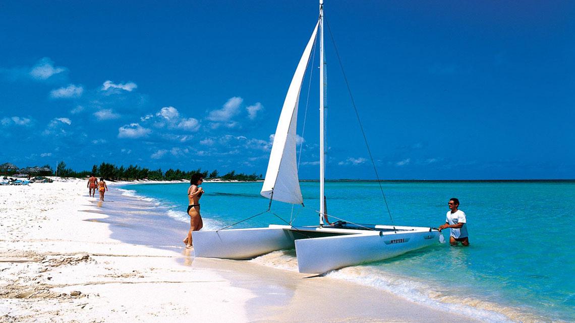 Sailing catamaran on the beach