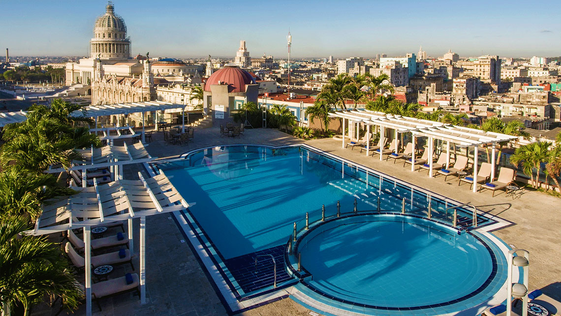 Panoramic views of Havana from the Rooftop bar of Iberostar Parque Central