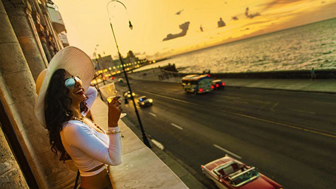 Havana's famous seafront at sunset