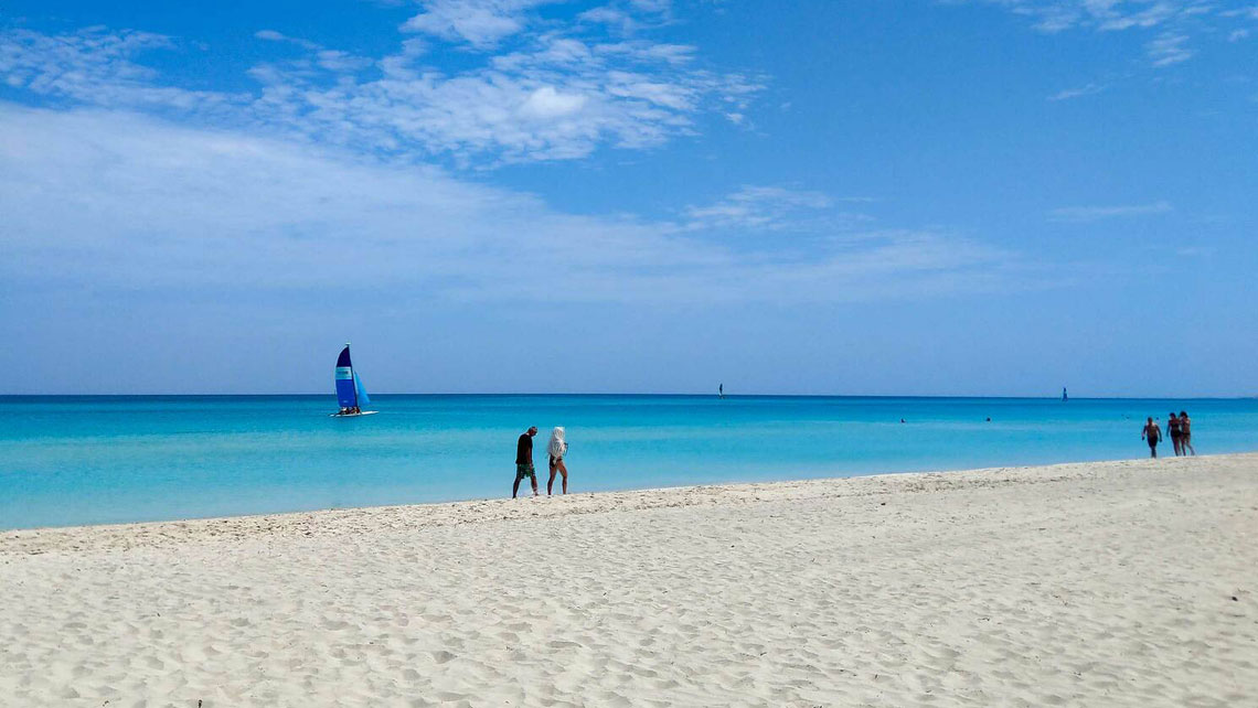 People walking on the white sand of Varadero beach