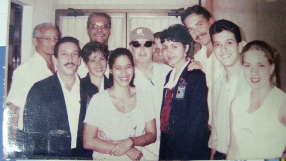 Paul McCartney with locals during his trip to Cuba in January 2000