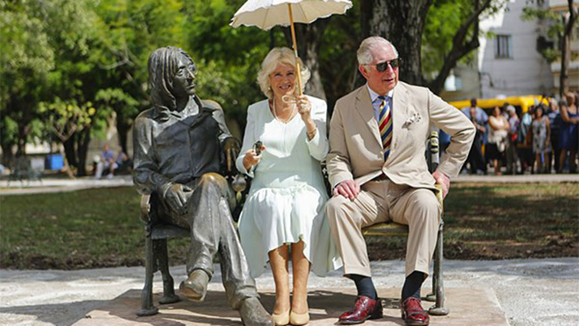 TRHs Prince Charles and Camilla, Duchess of Cornwall at Park John Lennon during their visit to Havana in March 2019