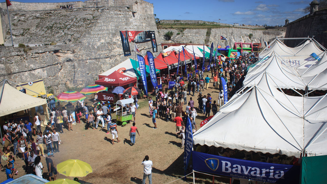 Book stands viewed from the top in San Carlos de la Cabaña Fortress during the International Book Fair