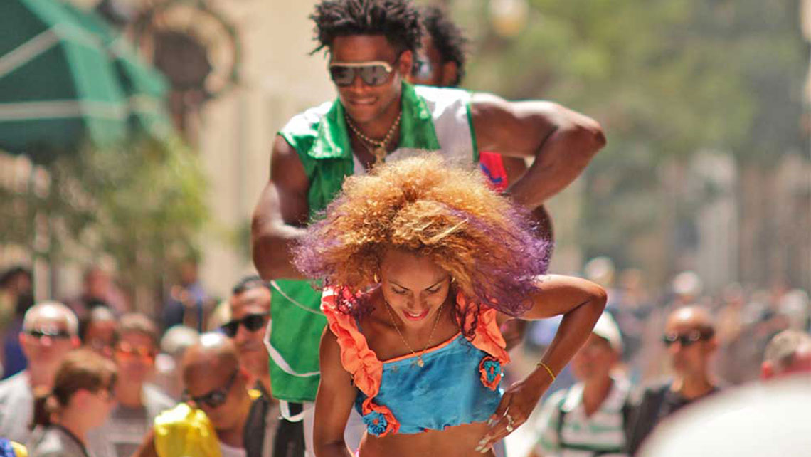 Carnival dancers on a street