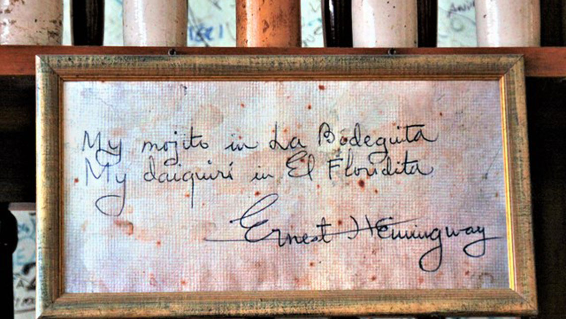 Hand written note by famous novelist Ernest Hemingway