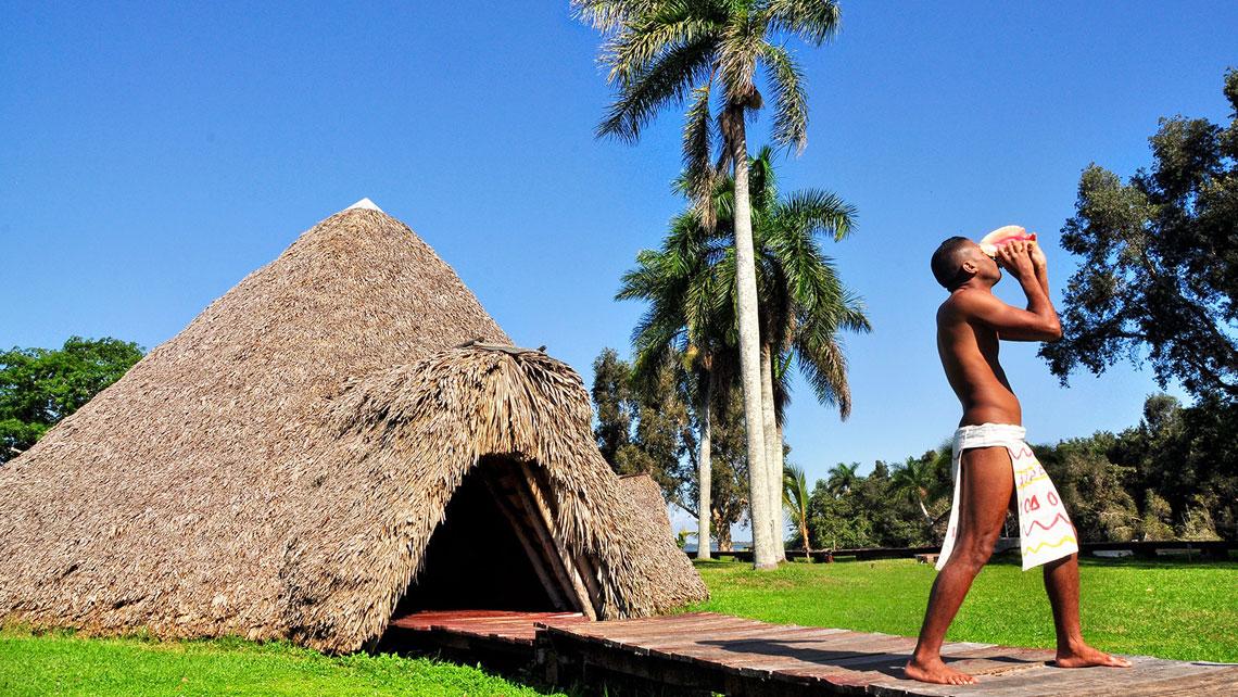 A replica of aboriginal village in Boca de Guama