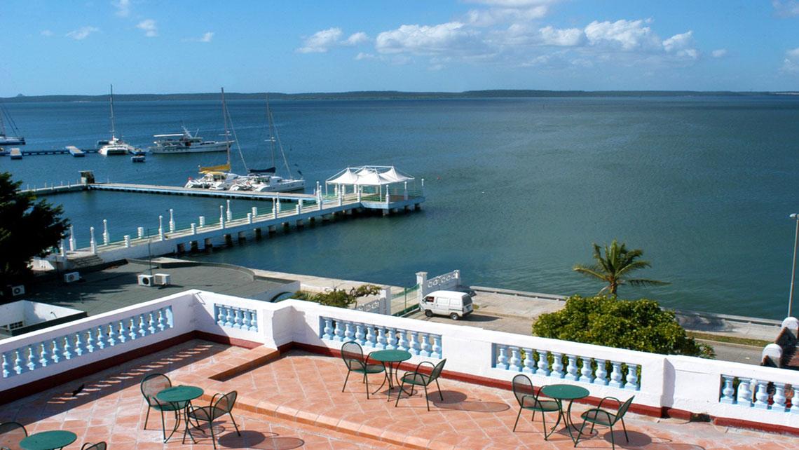 View of Cienfuegos bay from rooftop terrace of Hotel Palacio Azul