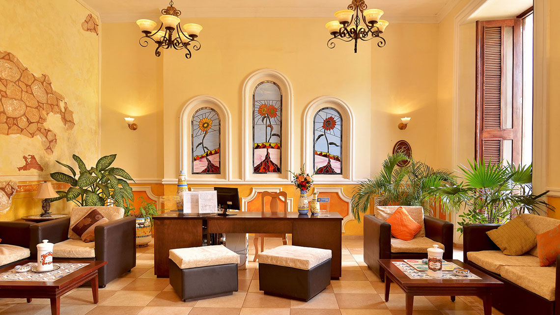 Charming interior of Hotel Barcelona in Remedios