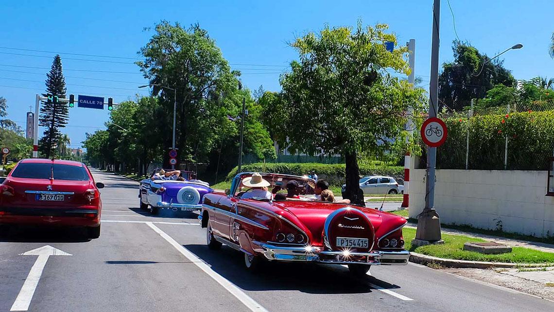 classic vintage car cruising the 5th Avenue in Havana