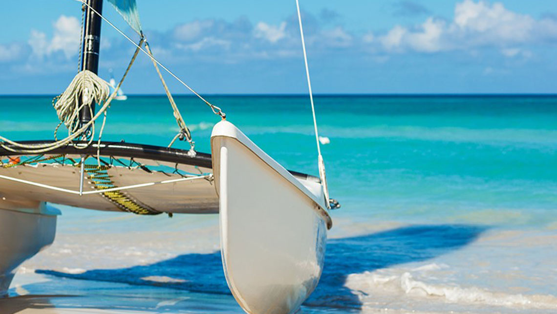 A close up of a catamaran in Varadero, Cuba