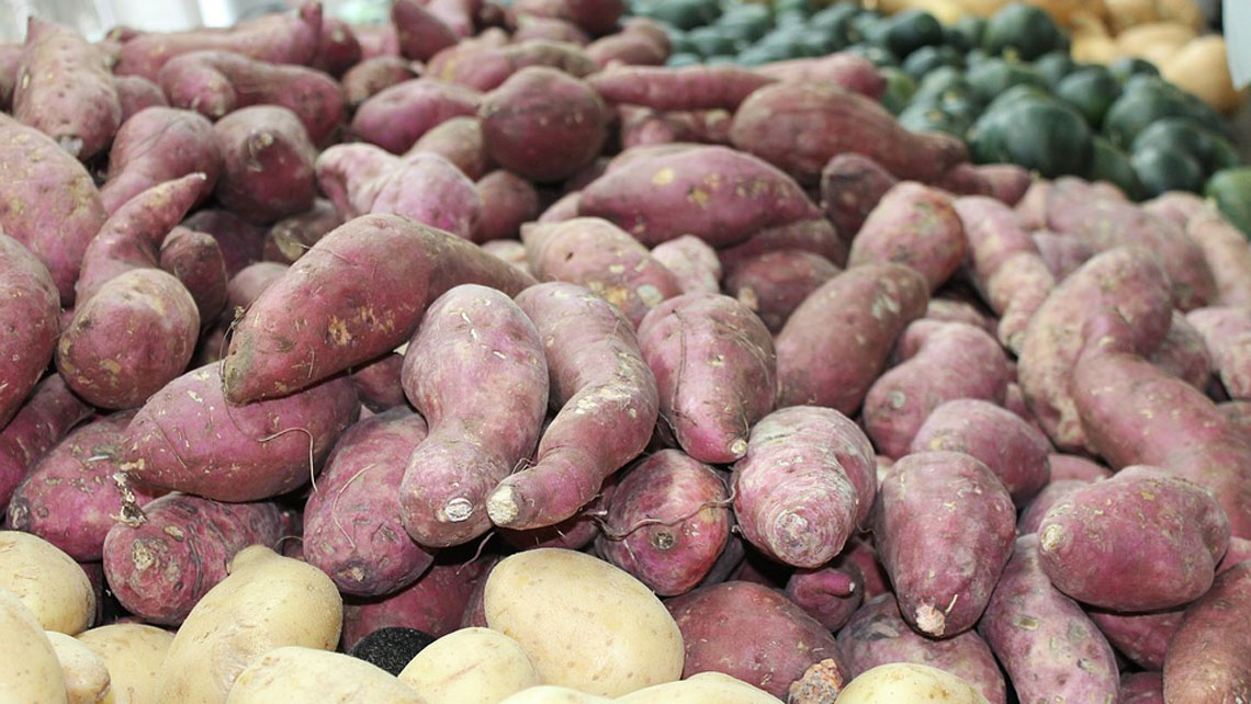 Sweet potatoes in a selling stand
