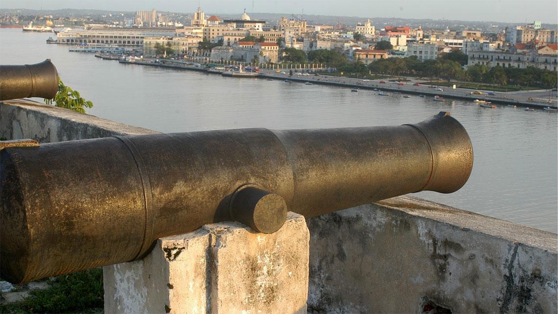 Historic canon in Fortaleza de San Carlos de la Cabana, Havana, Cuba