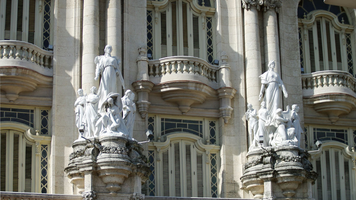 Details of statues of the Grand Theatre of Havana Alicia Alonso