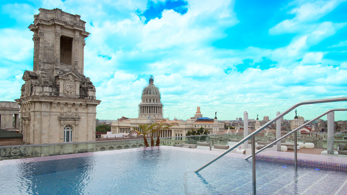 Panoramic view of Havana from the swimming pool of Gran Hotel Manzana Kempinski