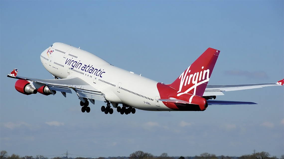 A Virgin Atlantic aircraft taking off