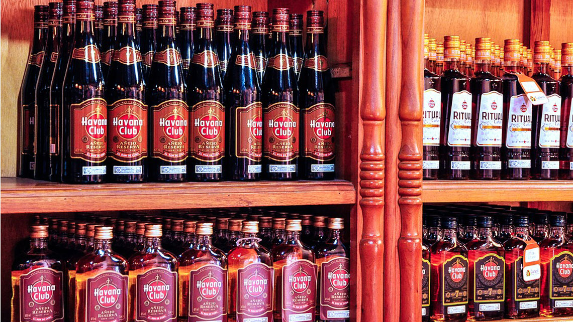 Bottles of Cuban's rum on display in a shop